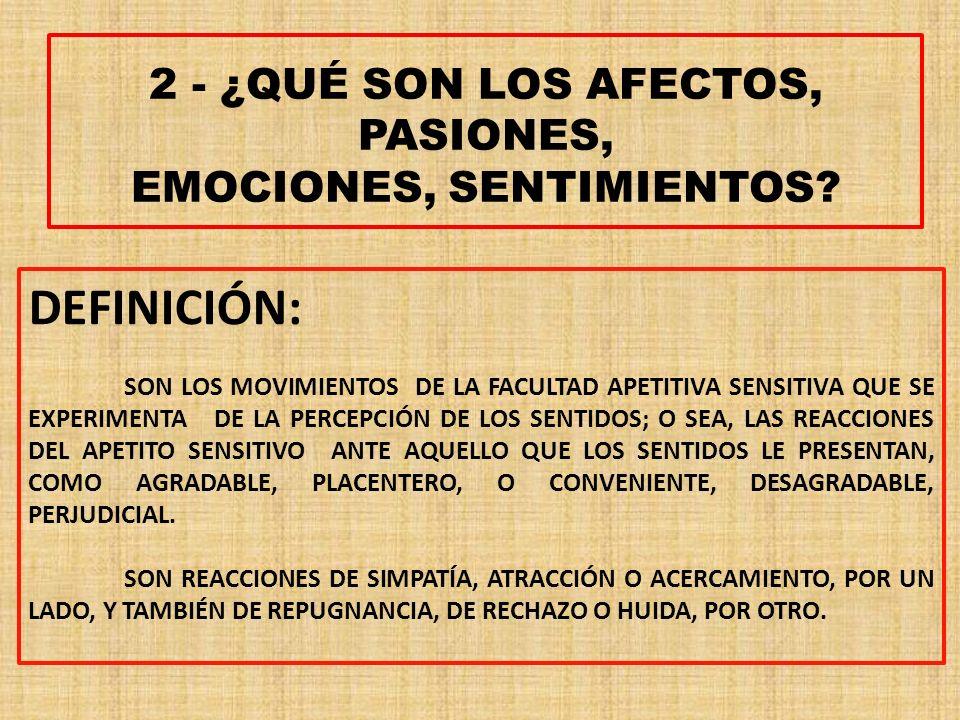 2 - ¿QUÉ SON LOS AFECTOS, PASIONES, EMOCIONES, SENTIMIENTOS.