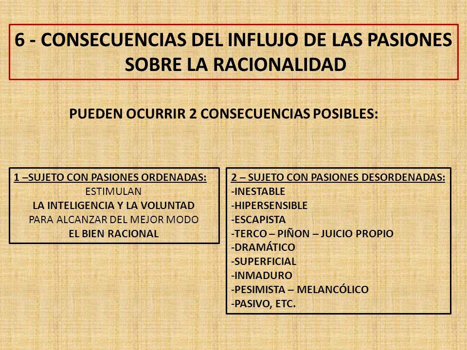 6 - CONSECUENCIAS DEL INFLUJO DE LAS PASIONES SOBRE LA RACIONALIDAD 1 –SUJETO CON PASIONES ORDENADAS: ESTIMULAN LA INTELIGENCIA Y LA VOLUNTAD PARA ALCANZAR DEL MEJOR MODO EL BIEN RACIONAL PUEDEN OCURRIR 2 CONSECUENCIAS POSIBLES: 2 – SUJETO CON PASIONES DESORDENADAS: -INESTABLE -HIPERSENSIBLE -ESCAPISTA -TERCO – PIÑON – JUICIO PROPIO -DRAMÁTICO -SUPERFICIAL -INMADURO -PESIMISTA – MELANCÓLICO -PASIVO, ETC.