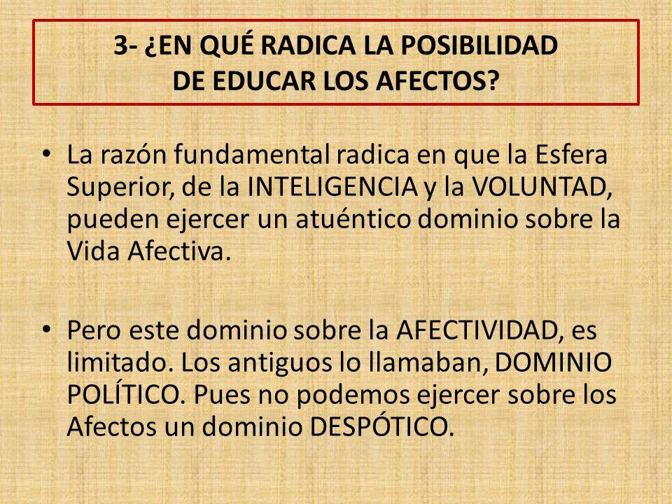 3- ¿EN QUÉ RADICA LA POSIBILIDAD DE EDUCAR LOS AFECTOS.