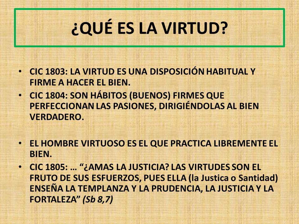 ¿QUÉ ES LA VIRTUD. CIC 1803: LA VIRTUD ES UNA DISPOSICIÓN HABITUAL Y FIRME A HACER EL BIEN.