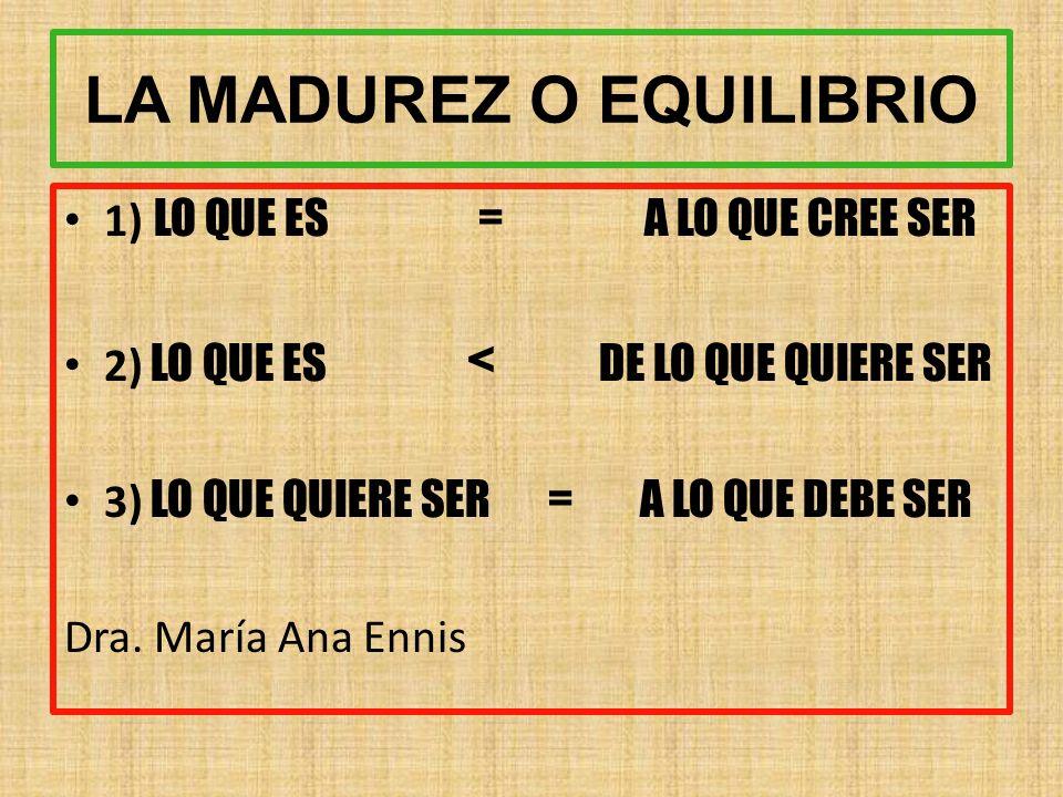 LA MADUREZ O EQUILIBRIO 1) LO QUE ES = A LO QUE CREE SER 2) LO QUE ES < DE LO QUE QUIERE SER 3) LO QUE QUIERE SER = A LO QUE DEBE SER Dra.