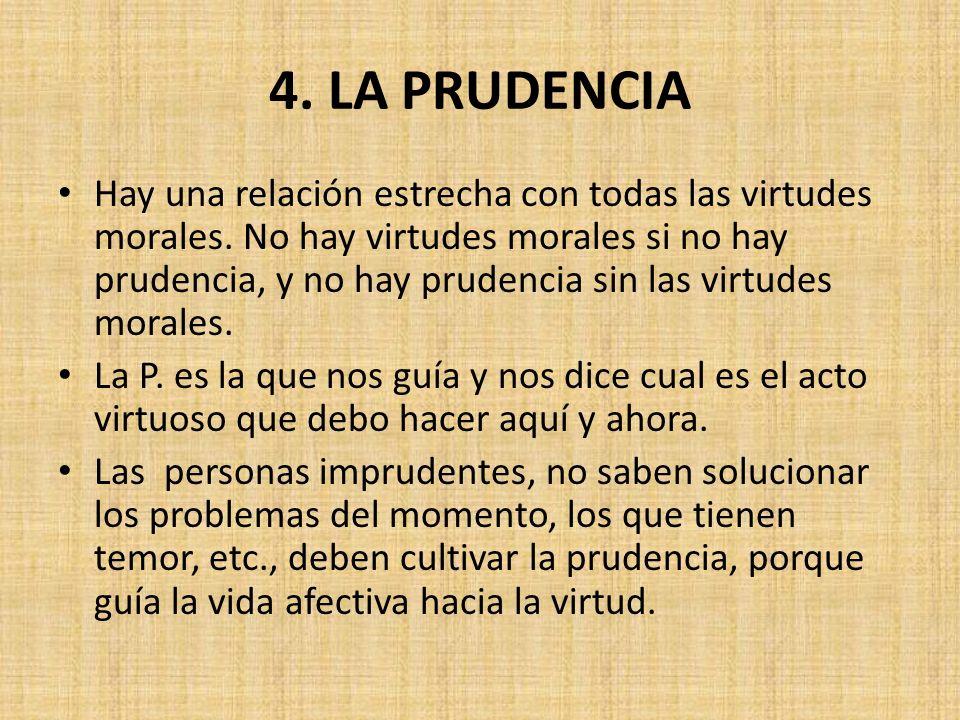 4. LA PRUDENCIA Hay una relación estrecha con todas las virtudes morales.
