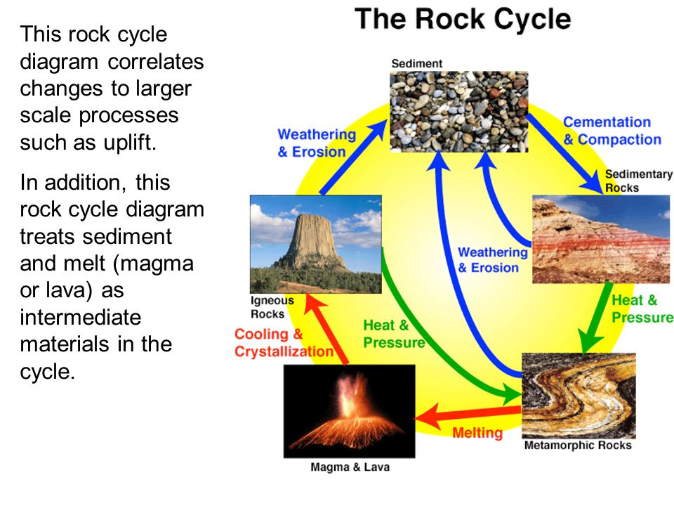Rocks rock rock cycle igneous rocks sedimentary rocks metamorphic this rock cycle diagram correlates changes to larger scale processes such as uplift ccuart Image collections