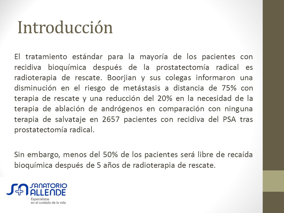 radioterapia despues de prostatectomia radical