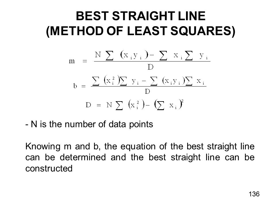 BEST STRAIGHT LINE (METHOD OF LEAST SQUARES) - N is the number of data points Knowing m and b, the equation of the best straight line can be determined and the best straight line can be constructed 136