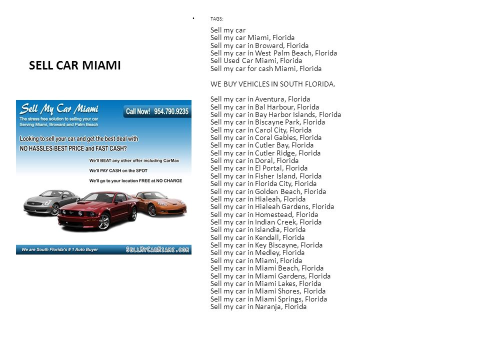 Sell Car Miami We \
