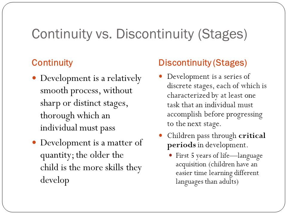 continuity vs discontinuity viewpoint of development Development through the lifespan, 4/e the colors in this document are not an accurate representation development, a field of study devoted to understand.