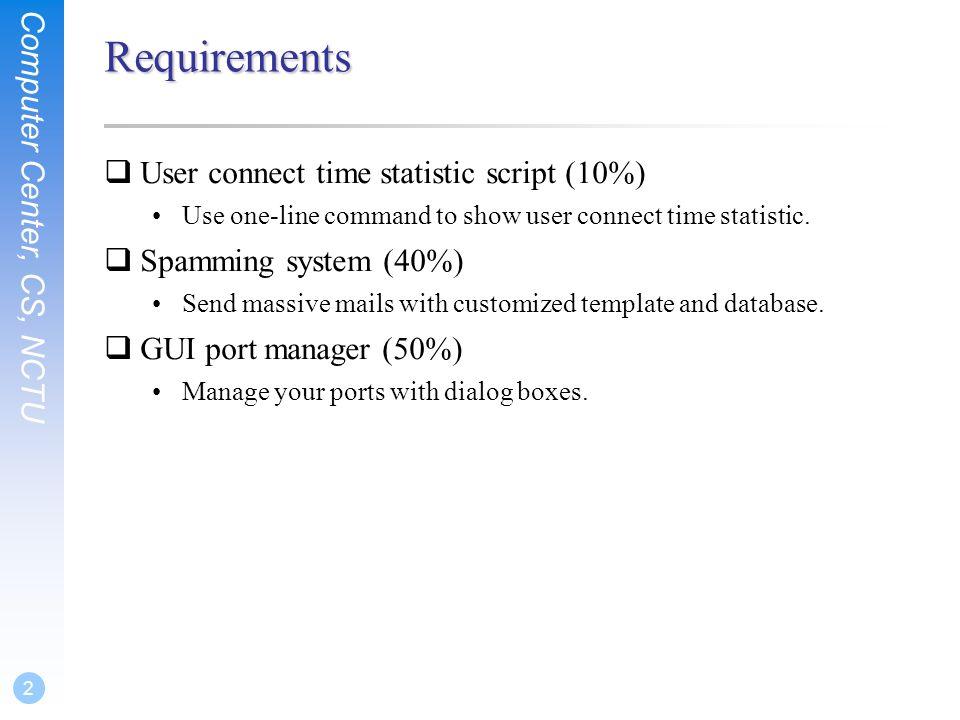 System Administration HW3 - Shell Script hchung. Computer Center, CS ...