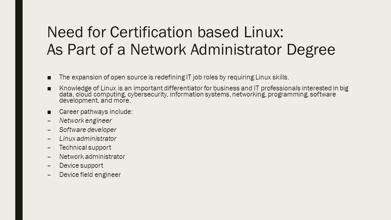 Linux admin certification part of the cisco aat degree draft need for certification based linux as part of a network administrator degree the expansion xflitez Gallery