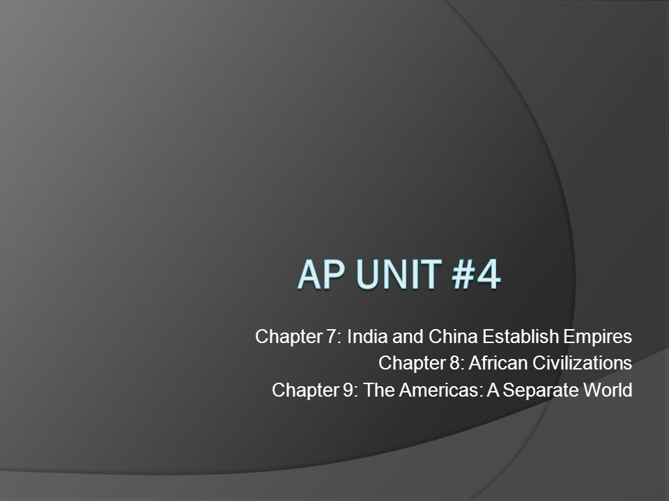 Chapter 7: India and China Establish Empires Chapter 8: African Civilizations Chapter 9: The Americas: A Separate World