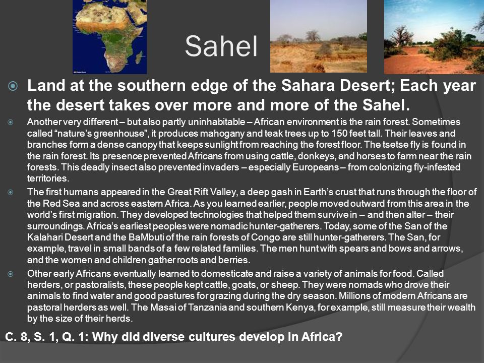 Sahel  Land at the southern edge of the Sahara Desert; Each year the desert takes over more and more of the Sahel.