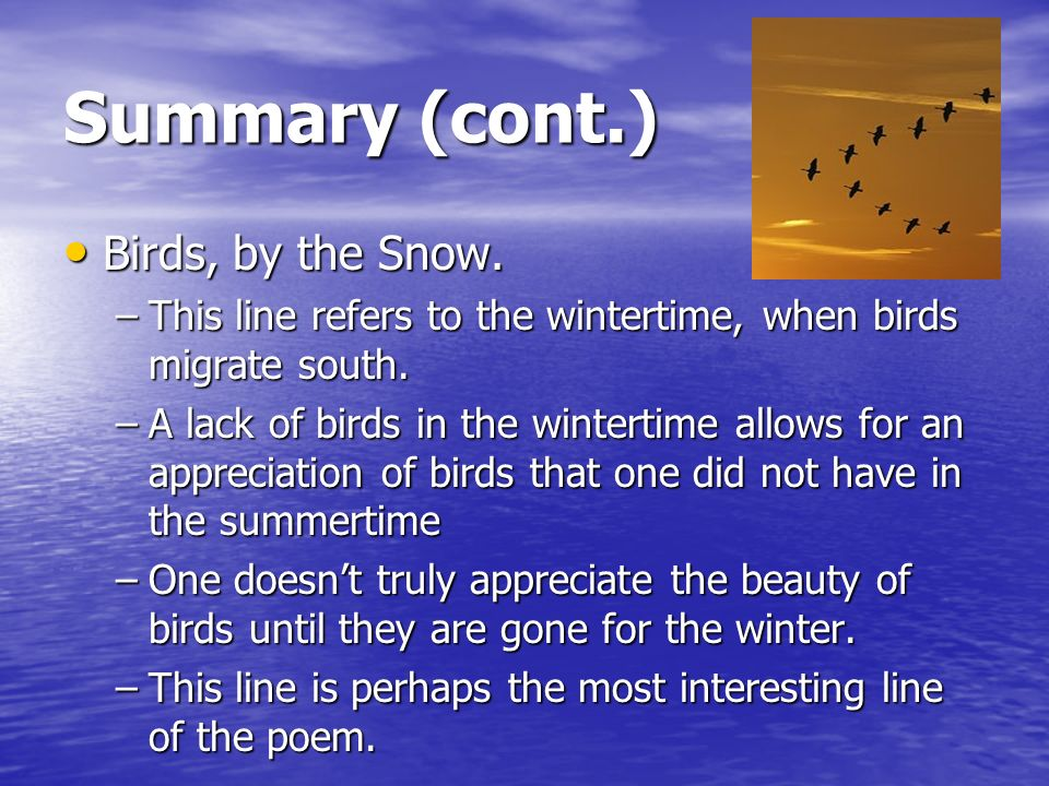 Summary (cont.) Birds, by the Snow. Birds, by the Snow.