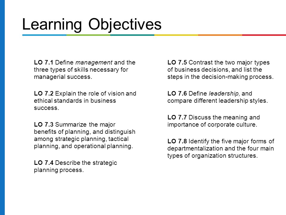 LO 7.1 Define management and the three types of skills necessary for managerial success.