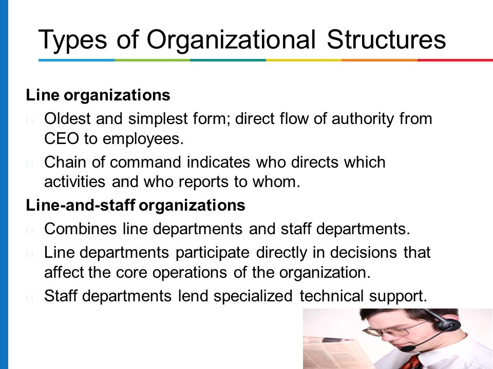 Line organizations Oldest and simplest form; direct flow of authority from CEO to employees.