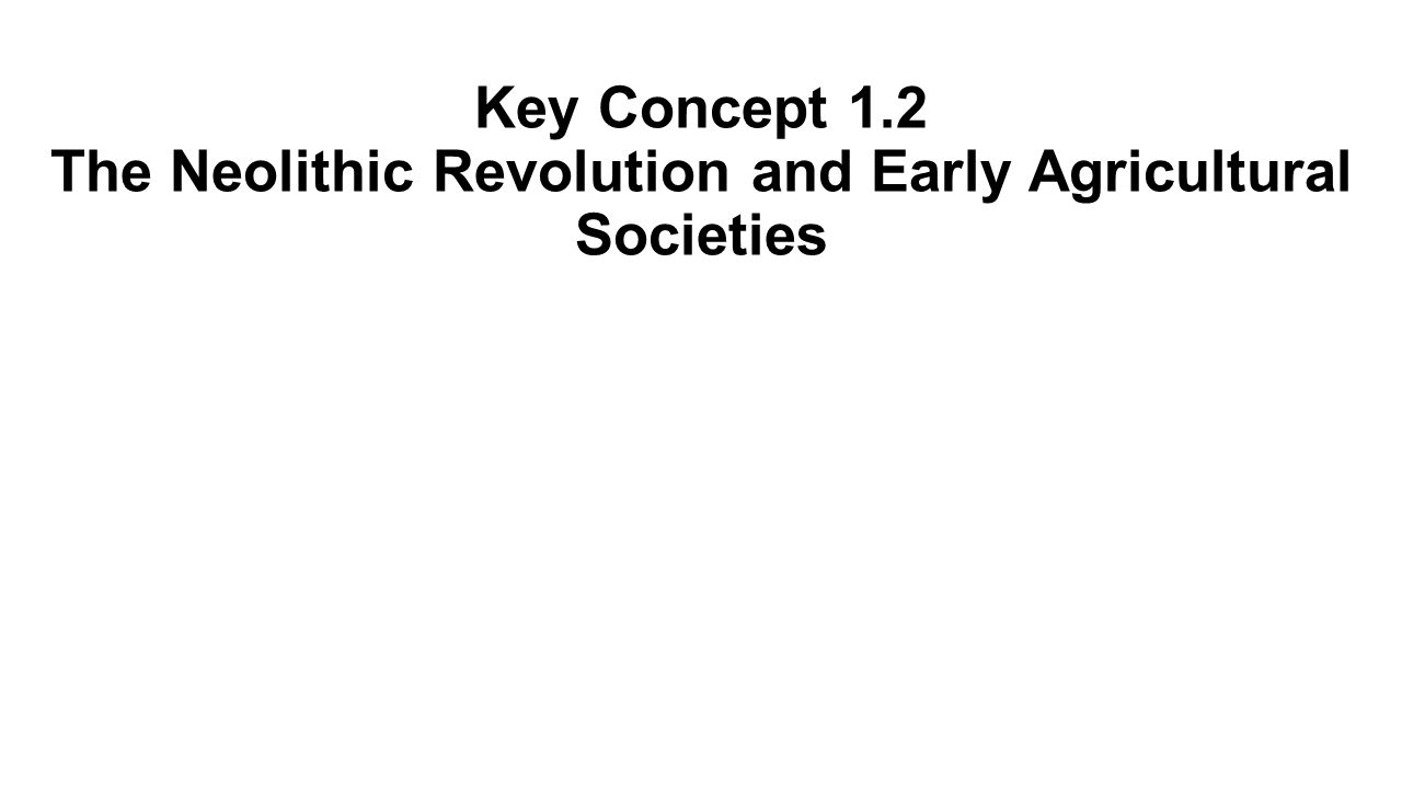 Key Concept 1.2 The Neolithic Revolution and Early Agricultural Societies