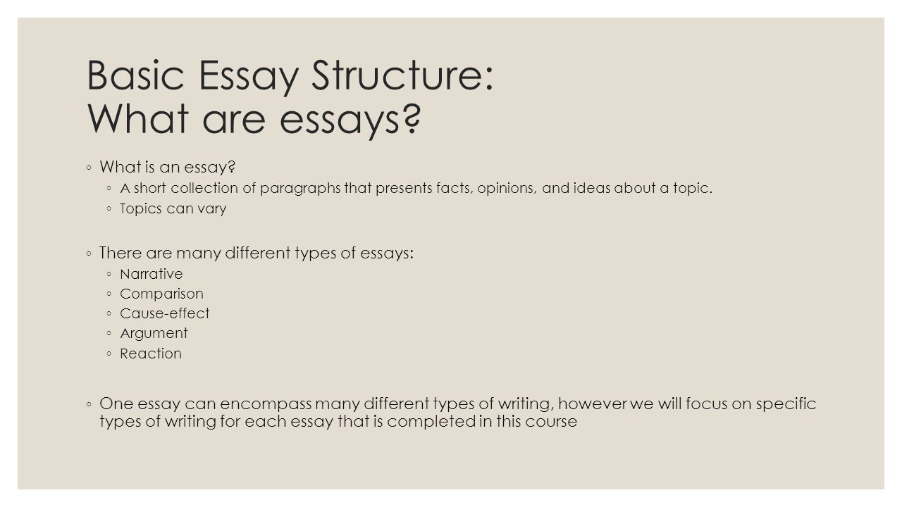Structure Of Cause And Effect Essay