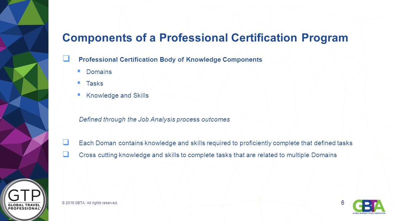 global travel professional reg gtp certification matt konetschni components of a professional certification program 61553 professional certification body of knowledge components 61607 s 61607