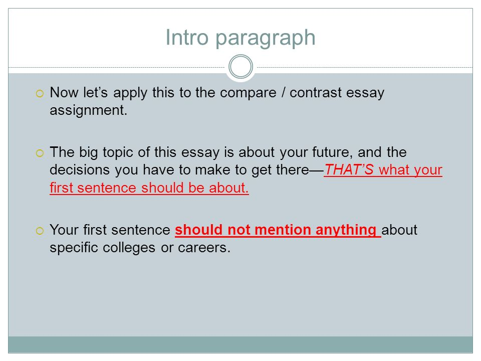 compare and contrast essay introduction paragraph