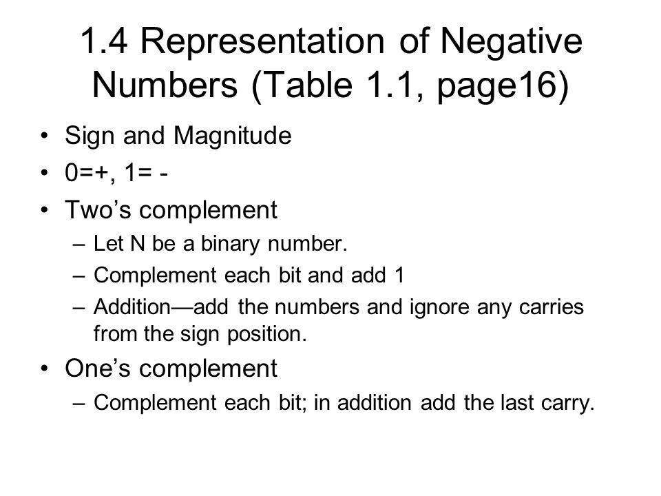 1.4 Representation of Negative Numbers (Table 1.1, page16) Sign and Magnitude 0=+, 1= - Two's complement –Let N be a binary number.