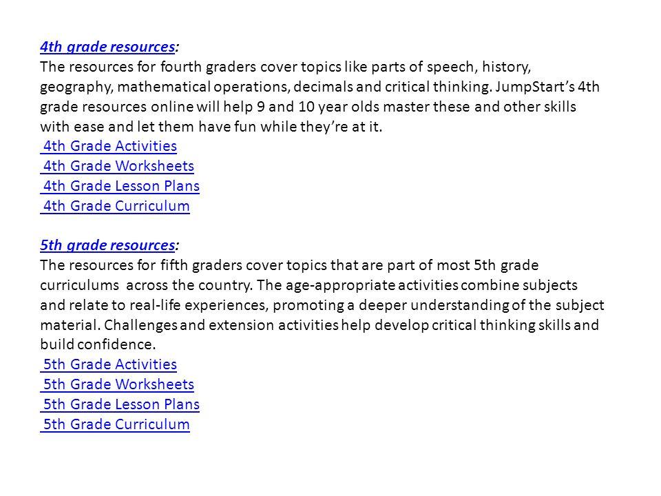 Grade Based Resources Grade based resourcesGrade based resources – 4th Grade History Worksheets