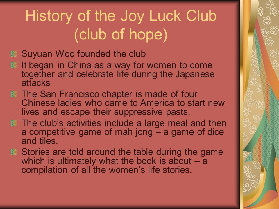 the joy luck club author amy tan plot do not write the joy luck  history of the joy luck club club of hope suyuan woo founded the club