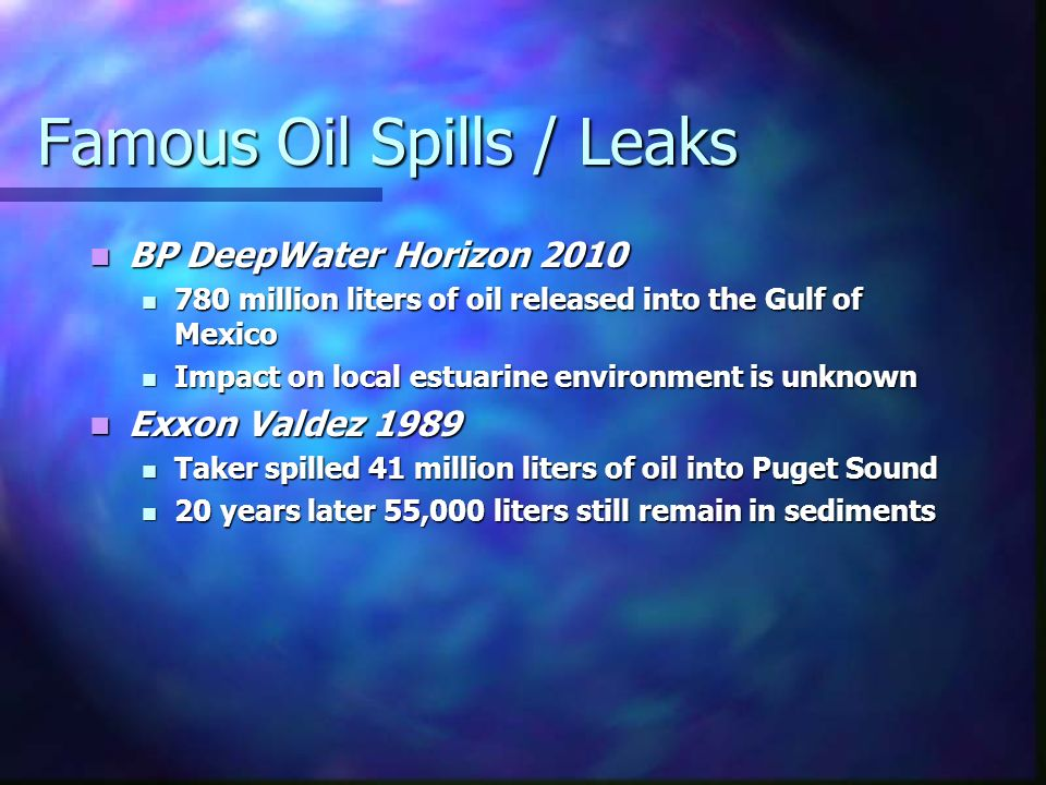 Famous Oil Spills / Leaks BP DeepWater Horizon 2010 BP DeepWater Horizon million liters of oil released into the Gulf of Mexico 780 million liters of oil released into the Gulf of Mexico Impact on local estuarine environment is unknown Impact on local estuarine environment is unknown Exxon Valdez 1989 Exxon Valdez 1989 Taker spilled 41 million liters of oil into Puget Sound Taker spilled 41 million liters of oil into Puget Sound 20 years later 55,000 liters still remain in sediments 20 years later 55,000 liters still remain in sediments