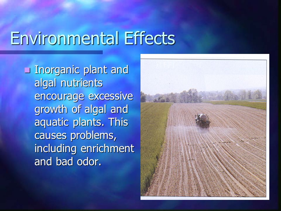 Environmental Effects Inorganic plant and algal nutrients encourage excessive growth of algal and aquatic plants.