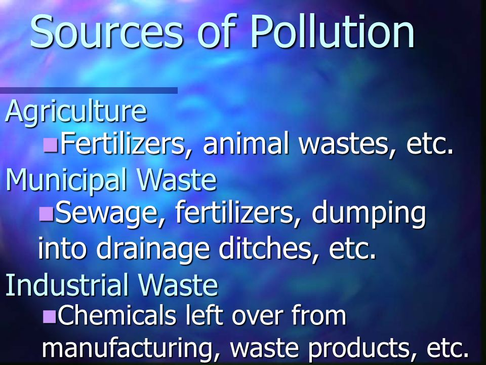 Agriculture Fertilizers, animal wastes, etc. Fertilizers, animal wastes, etc.