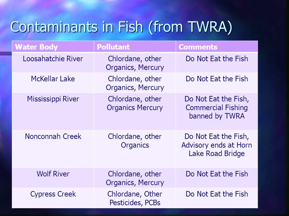 Contaminants in Fish (from TWRA) Water BodyPollutantComments Loosahatchie RiverChlordane, other Organics, Mercury Do Not Eat the Fish McKellar LakeChlordane, other Organics, Mercury Do Not Eat the Fish Mississippi RiverChlordane, other Organics Mercury Do Not Eat the Fish, Commercial Fishing banned by TWRA Nonconnah CreekChlordane, other Organics Do Not Eat the Fish, Advisory ends at Horn Lake Road Bridge Wolf RiverChlordane, other Organics, Mercury Do Not Eat the Fish Cypress CreekChlordane, Other Pesticides, PCBs Do Not Eat the Fish