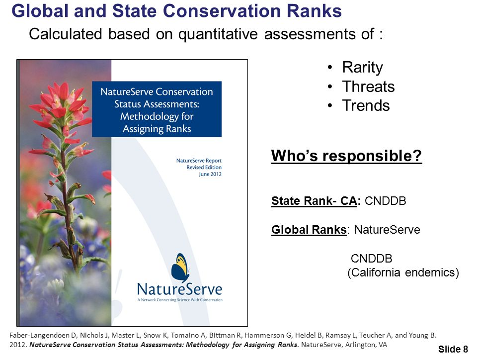 Global and State Conservation Ranks Calculated based on quantitative assessments of : Rarity Threats Trends Who's responsible.