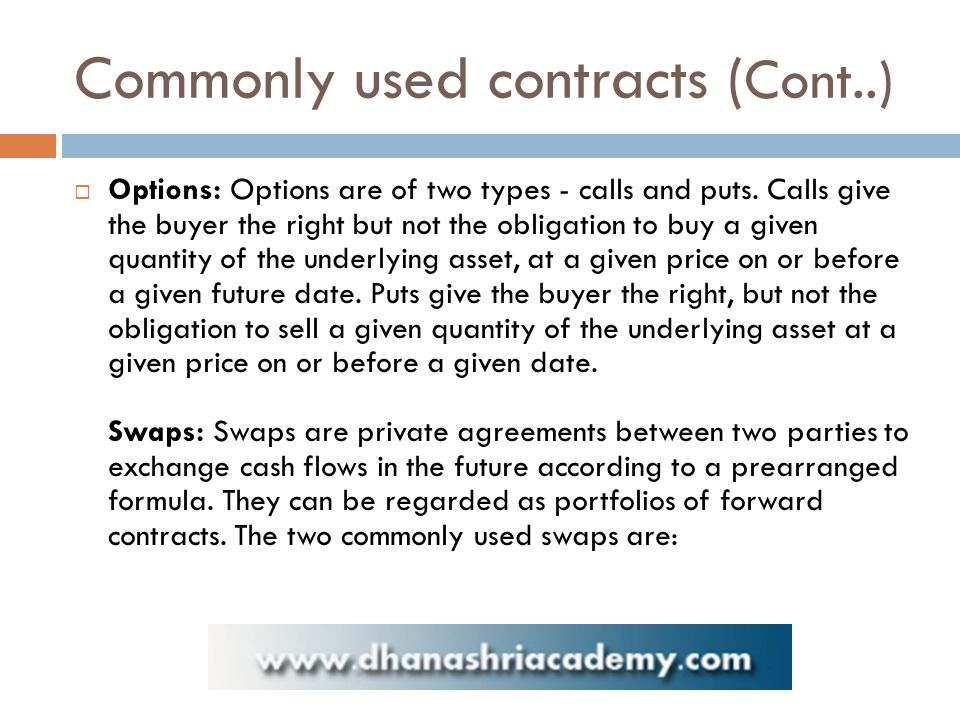 Commonly used contracts ( Cont..)  Options: Options are of two types - calls and puts.