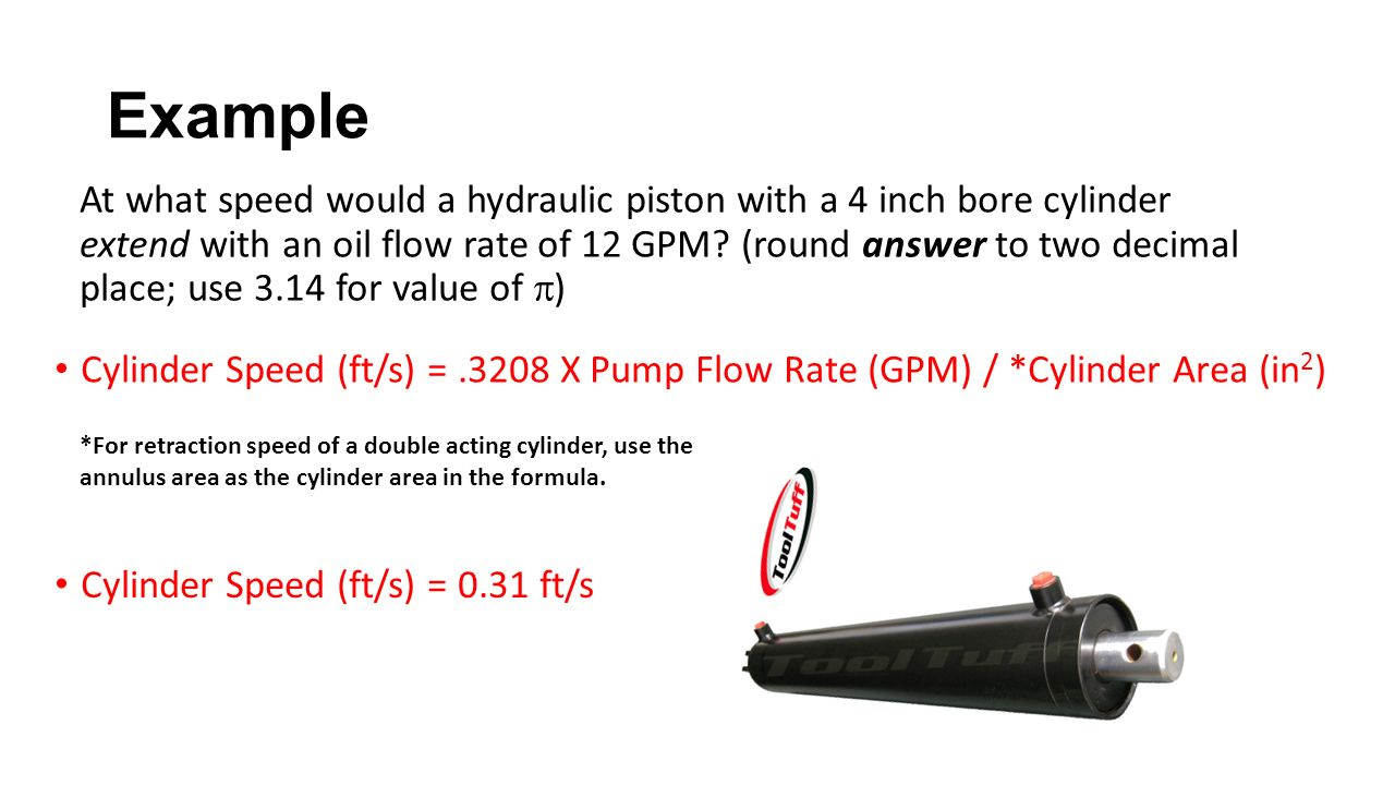 Example Cylinder Speed (ft/s) =.3208 X Pump Flow Rate (GPM) / *Cylinder Area (in 2 ) At what speed would a hydraulic piston with a 4 inch bore cylinder extend with an oil flow rate of 12 GPM.