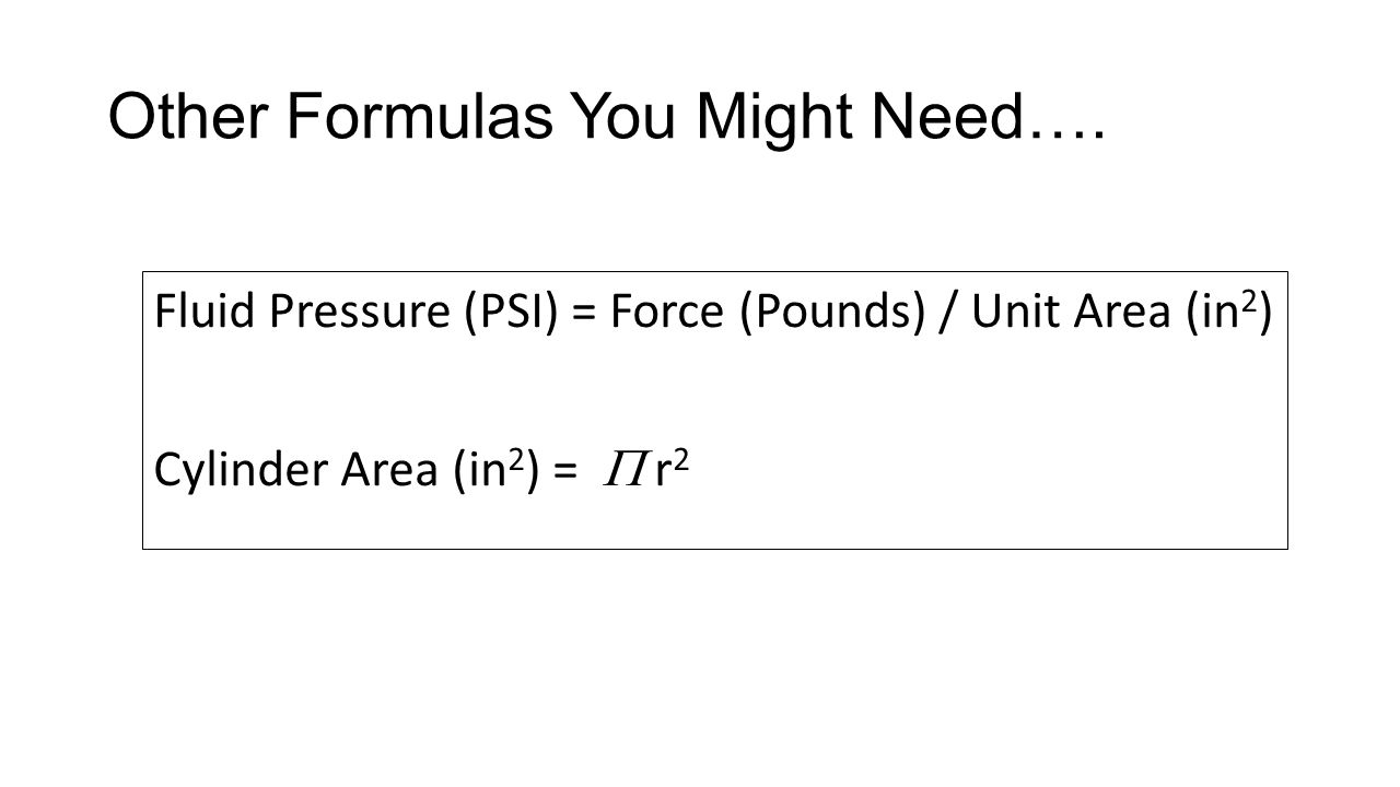 Other Formulas You Might Need….