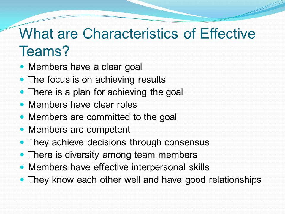 What are Characteristics of Effective Teams? Members have a clear goal The focus is on achieving results There is a plan for achieving the goal Member