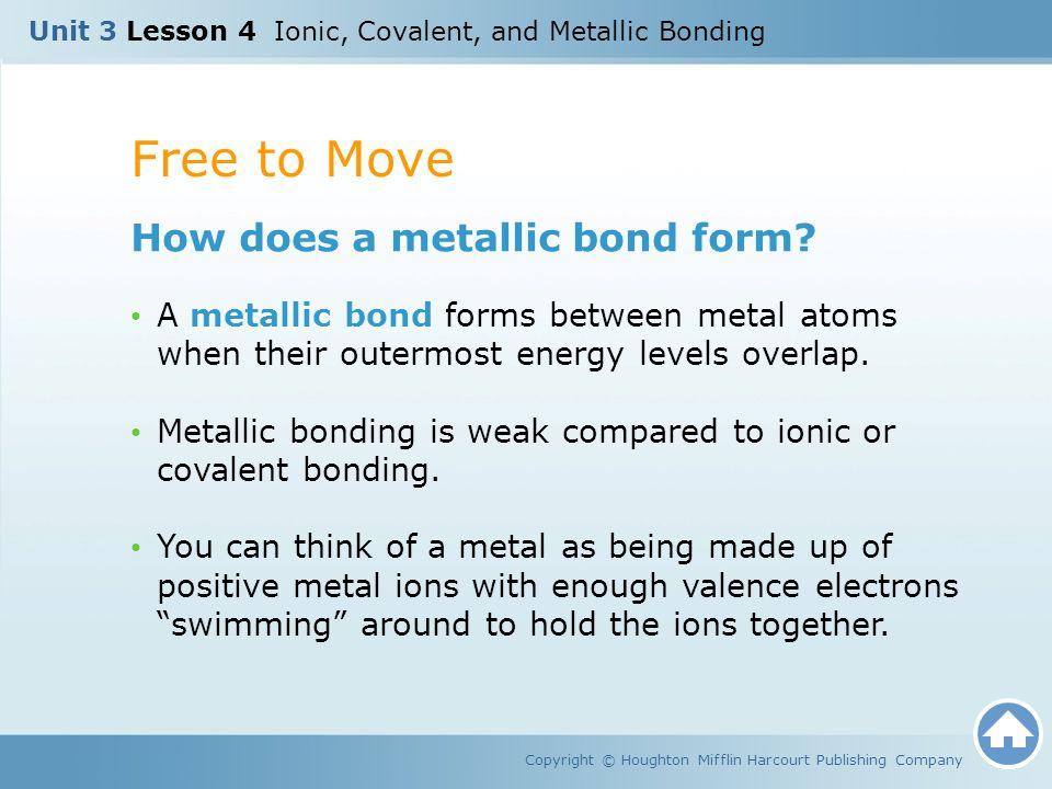 Unit 3 Lesson 4 Ionic, Covalent, and Metallic Bonding Copyright ...