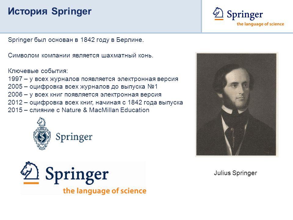 История Springer Springer был основан в 1842 году в Берлине.