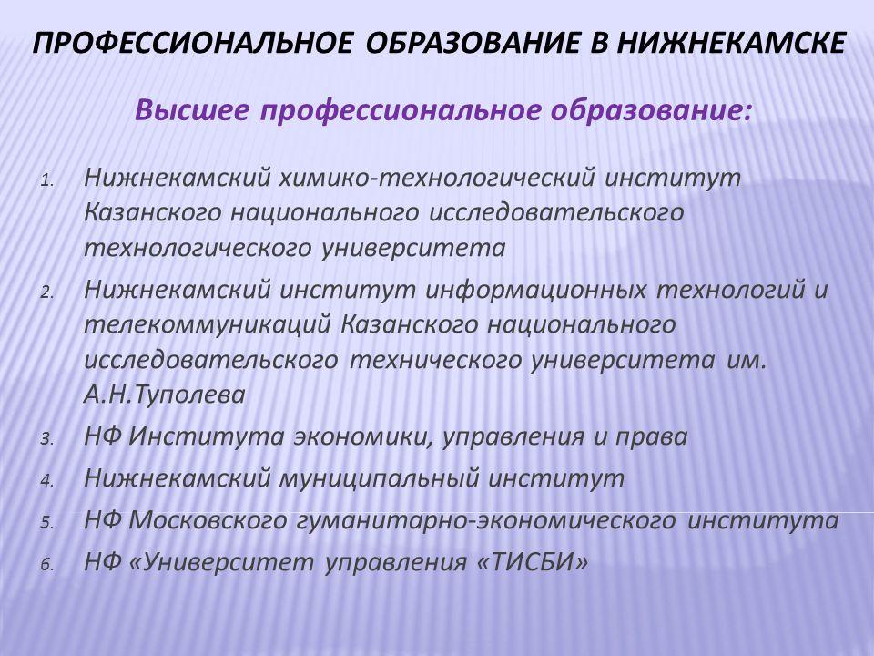 ПРОФЕССИОНАЛЬНОЕ ОБРАЗОВАНИЕ В НИЖНЕКАМСКЕ 1.