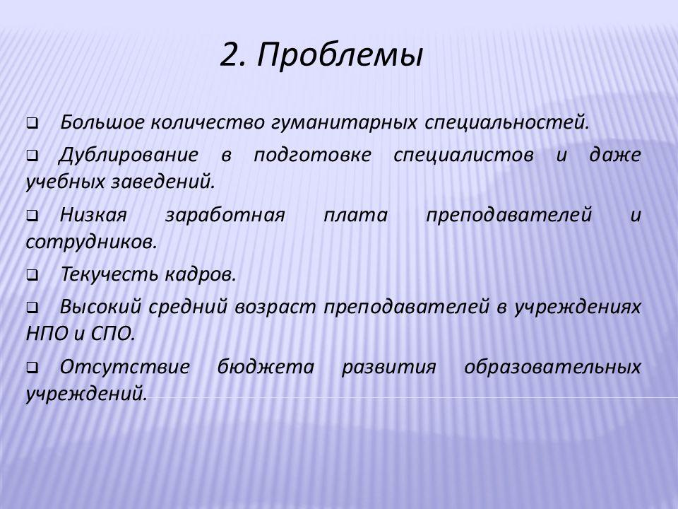 2. Проблемы  Большое количество гуманитарных специальностей.