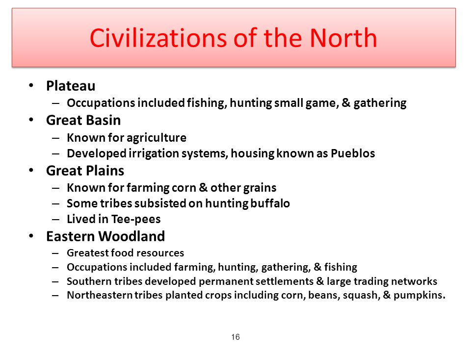 Civilizations of the North Plateau – Occupations included fishing, hunting small game, & gathering Great Basin – Known for agriculture – Developed irrigation systems, housing known as Pueblos Great Plains – Known for farming corn & other grains – Some tribes subsisted on hunting buffalo – Lived in Tee-pees Eastern Woodland – Greatest food resources – Occupations included farming, hunting, gathering, & fishing – Southern tribes developed permanent settlements & large trading networks – Northeastern tribes planted crops including corn, beans, squash, & pumpkins.