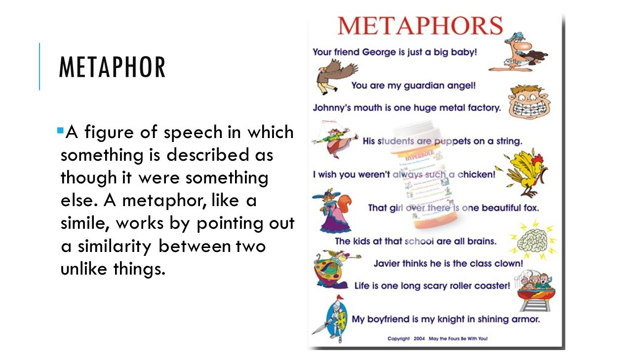 METAPHOR  A figure of speech in which something is described as though it were something else.
