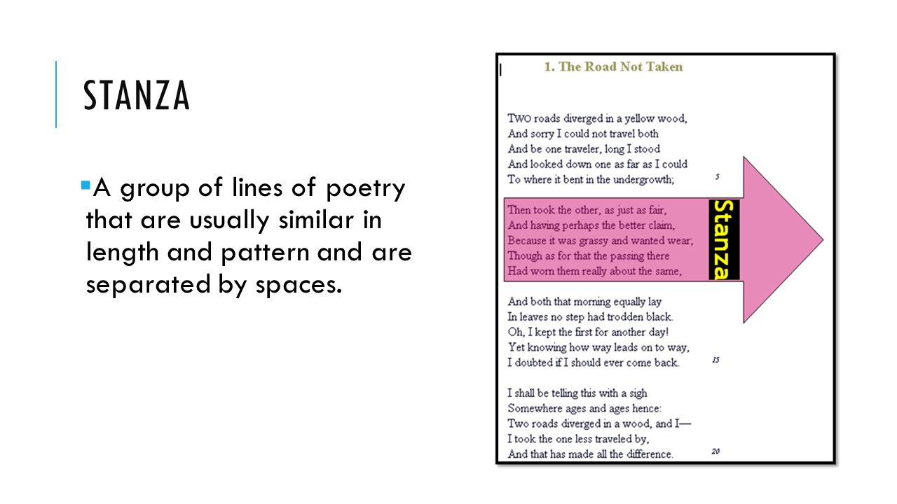 STANZA  A group of lines of poetry that are usually similar in length and pattern and are separated by spaces.
