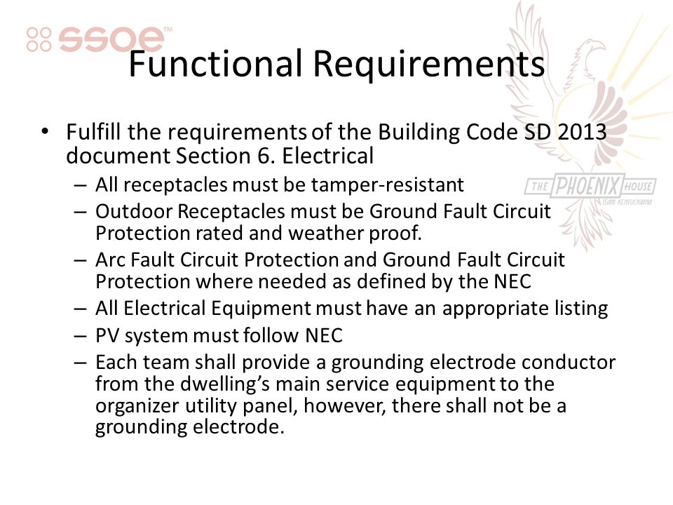 Functional Requirements Fulfill the requirements of the Building Code SD 2013 document Section 6.