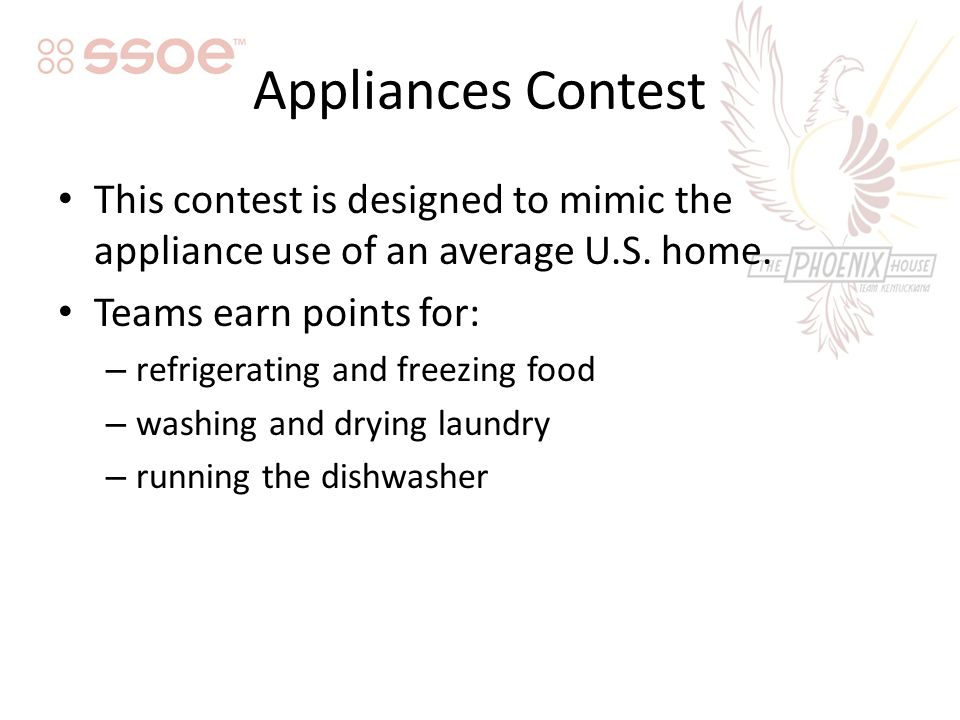 Appliances Contest This contest is designed to mimic the appliance use of an average U.S.