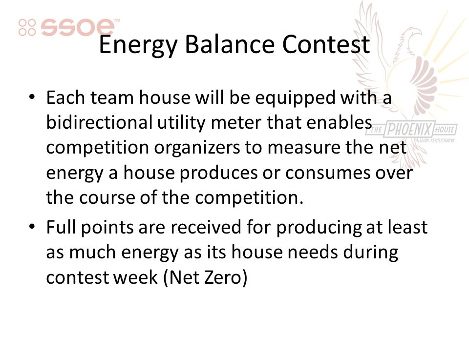 Energy Balance Contest Each team house will be equipped with a bidirectional utility meter that enables competition organizers to measure the net energy a house produces or consumes over the course of the competition.