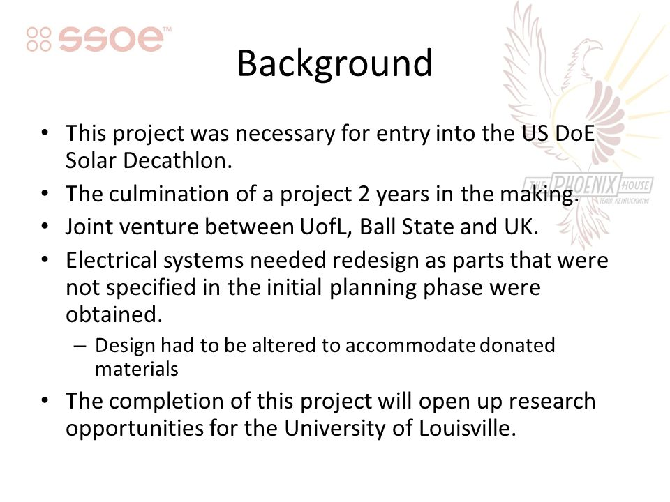 Background This project was necessary for entry into the US DoE Solar Decathlon.