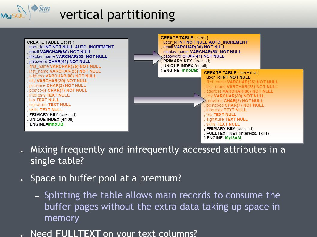 vertical partitioning ● Mixing frequently and infrequently accessed attributes in a single table.