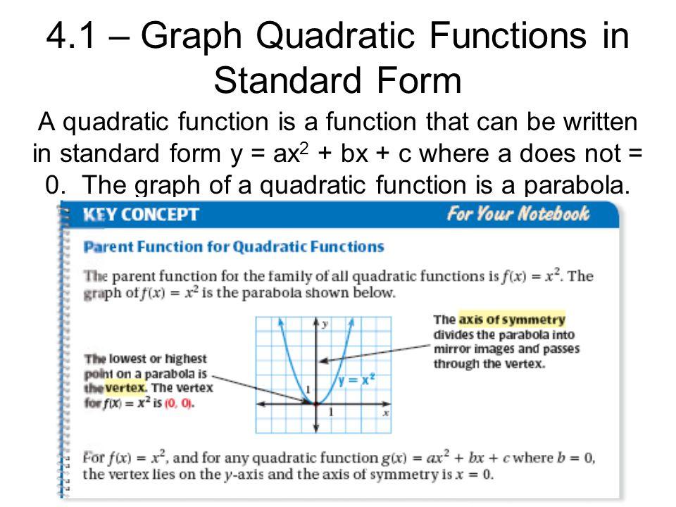 4.1 – Graph Quadratic Functions in Standard Form A quadratic ...