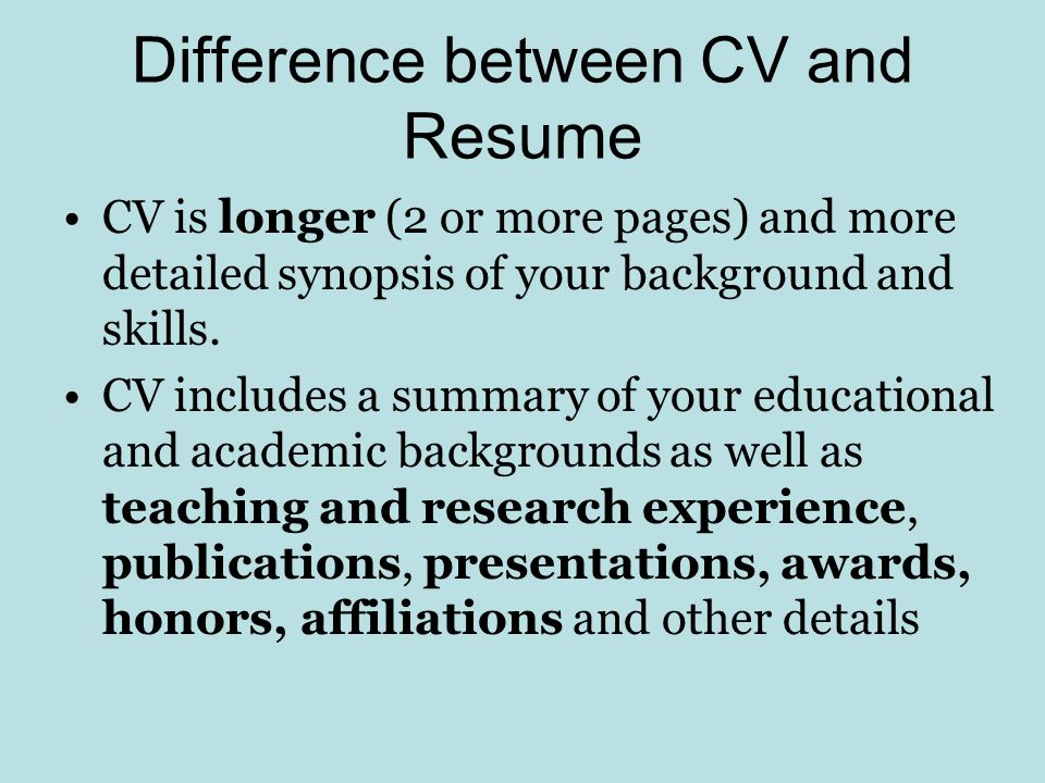 4 difference between - Difference Between Cv And Resume