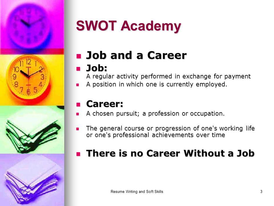 Resume Writing And Soft Skills3 SWOT Academy Job And A Career Job And A  Career Job  Resume Writing Academy