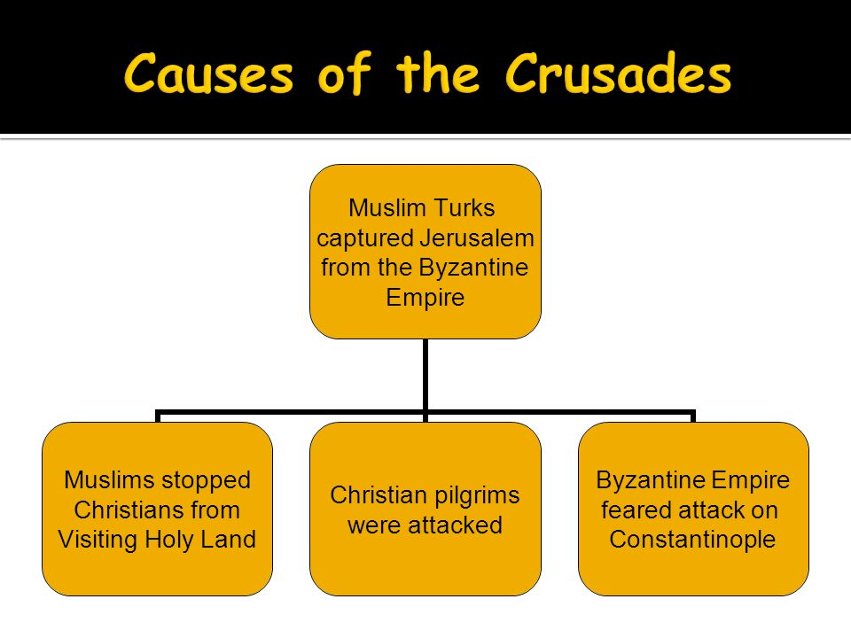 Muslim Turks captured Jerusalem from the Byzantine Empire Muslims stopped Christians from Visiting Holy Land Christian pilgrims were attacked Byzantine Empire feared attack on Constantinople